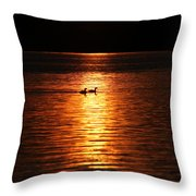 Coots In The Sunset Throw Pillow