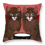 Copper Kitty Throw Pillow
