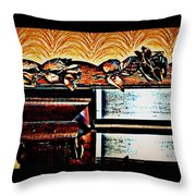 Copper Roses Bands Of Steel Throw Pillow
