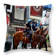 Cops In Manhattan Throw Pillow