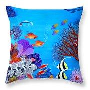 Coral Garden Throw Pillow