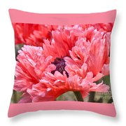 Coral Poppy Throw Pillow