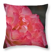 Coral Ruffles Throw Pillow