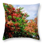 Coral Shower Trees Throw Pillow