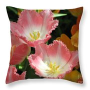 Coral Tulips Throw Pillow