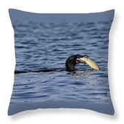 Cormorant Catches A Fish Throw Pillow