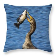 Cormorant Catches Catfish Throw Pillow