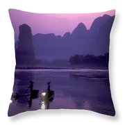 Cormorant Fishers Work At Dusk Throw Pillow