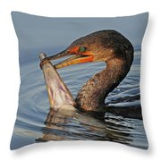 Cormorant With Large Fish Throw Pillow