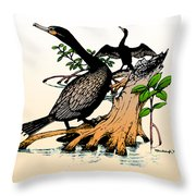 Cormorants On Mangrove Stumps Filtered Throw Pillow