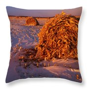 Corn Bales At Sunset, Dugald, Manitoba Throw Pillow
