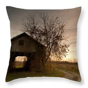 Corn Crib Throw Pillow