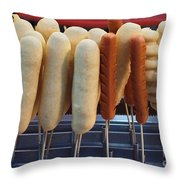 Corn Dogs And Sausages Throw Pillow