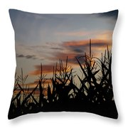 Corn Field With Orange Clouds Throw Pillow