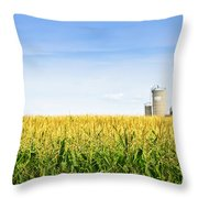 Corn Field With Silos Throw Pillow by Elena Elisseeva