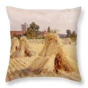 Corn Stooks By Bray Church Throw Pillow by Heywood Hardy