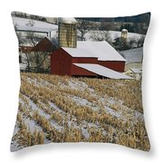 Corn Stubble And Barn In A Wintery Throw Pillow