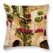 Corner Of Flowers Throw Pillow