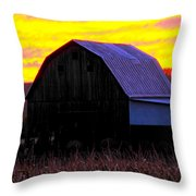 Cornfield Barn Sky Throw Pillow