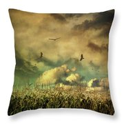 Cornfield In Summer With Dark Skies Throw Pillow