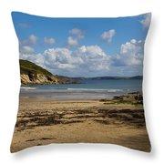 Cornish Seascape Maenporth Throw Pillow