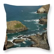 Cornish Seascape St Agnes  Throw Pillow