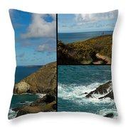 Cornwall North Coast Throw Pillow by Brian Roscorla
