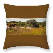 Corolla Horses Throw Pillow