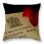 Coronation Book With Roses Throw Pillow