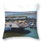 Corpus Christi Bay Towards Mustang Island Texas Throw Pillow