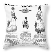 Corset Advertisement, 1892 Throw Pillow