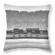 Cosco Cargo Ship Throw Pillow