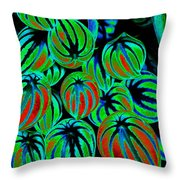 Cosmic Watermelon Leaves Throw Pillow