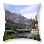 Crossing Emerald Lake Bridge - Yoho Nat. Park, Canada Throw Pillow