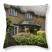 Cotswold Thatched Cottage Throw Pillow