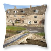 Cotswold Village Of Lower Slaughter Throw Pillow