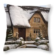 Cotswolds Cottage Covered In Snow Throw Pillow