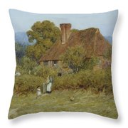 Cottage At Broadham Green Surrey In Sunset Light Throw Pillow