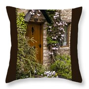 Cottage At Castle Combe Throw Pillow