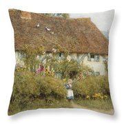 Cottage At West Horsley Surrey Throw Pillow