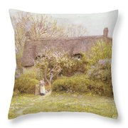 Cottage Freshwater Isle Of Wight Throw Pillow by Helen Allingham