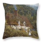 Cottage Near Witley Surrey Throw Pillow