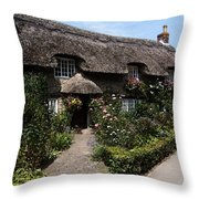Cottage With Flowers Throw Pillow