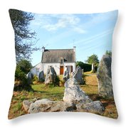 Cottage With Standing Stones Throw Pillow