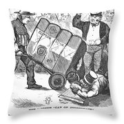 Cotton Loan Cartoon, 1865 Throw Pillow