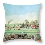 Cotton Plantation On The Mississippi Throw Pillow by Photo Researchers