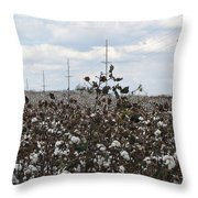 Cotton Ready For Harvest In Alabama Throw Pillow