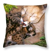Cougar Mom Cleans Youngster Throw Pillow