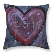 Counting Heart Throw Pillow