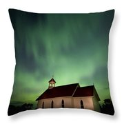 Country Church And Northern Lights Throw Pillow